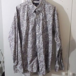 Alan Flusser Blue Purple Paisley Dress Shirt L
